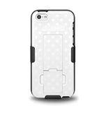 Amzer Shellster Shell Holster Combo Case Cover for Apple iPhone 5C with Kickstand and Belt Clip - Retail Packaging - Black/ White