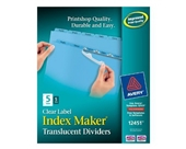 Avery Index Maker Translucent Dividers with Clear Labels, 5 Tab, Blue, 5 Sets (12451)