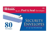 BAZIC No.6-3/4 Peel and Seal Security Envelope, White, 80 Per Pack (573-24P)