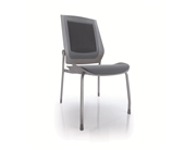 Bodyflex BFSG-GRY Side Chair with Silver Frame and Grey Fabric