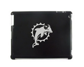 Black Apple iPad 2 Aluminum Plated Back Case Miami Dolphins