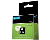 "DYMO LabelWriter Address Labels, Clear, 1-1/8"" x 3-1/2"", 1 Roll/Box, 130 Labels/Roll (30254)"