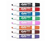 Expo Low Odor Chisel Tip Dry Erase Markers, 8 Colored Markers