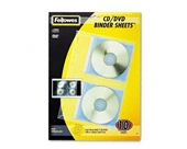 Fellowes CD/DVD Protector Sheets for Three-Ring Binder, 10/Pack - Sold As 1 Pack