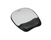 Fellowes Mouse Pad w/Wrist Rest, Nonskid Back, 8 x 9-1/4, Silver - Sold As 1 Each