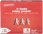 Staples 3-Hole Punch Multipurpose Copy Laser Inkjet Printer Paper, 8 1/2 x 11