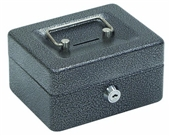 "Hercules CB0604 Key Locking Cash Box, 6"" x 4.62"" x 3"", Recycled Steel, Silver Vein"