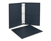 Oxford Twin Pocket Portfolios with Three Tang Fasteners, Dark Blue, 25 Per Box, (57738)