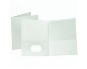 Oxford Twin Pocket White Leatherette-Grained Portfolios 25 Count (57504)