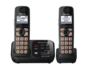 Panasonic KX-TG4732B DECT 6.0 Cordless Phone with Answering System, Black, 2 Handsets