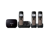 Panasonic KX-TG4753B DECT 6.0 Cordless Phone with Answering System and Range Extender, Black, 3 Handsets