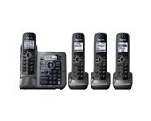 Panasonic KX-TG7644M DECT 6.0 Link-to-Cell via Bluetooth Cordless Phone with Answering System, Metallic Gray, 4 Handsets