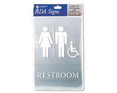 Quartet ADA Restroom Accessible Sign, 6 x 9 Inches, Gray (01410)