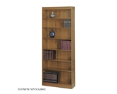 Safco 7-Shelf Reinforced Square-Edge Veneer Bookcase, Medium Oak [Kitchen]