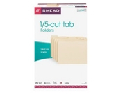 Smead File Folder, Legal Size, 1/5 Cut Tab, Manila, 100 Per Box (15350)
