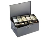 SteelMaster MMF 221F15TGRA Extra Large Cash Box with Handles, Disc Tumbler Lock, Gray