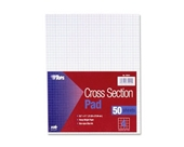 TOPS Cross Section Pad, 1 Pad, 4 Squares/Inch, Quadrille Rule, Letter Size, White, 50 Sheets/Pad, 1 Pad (35041)