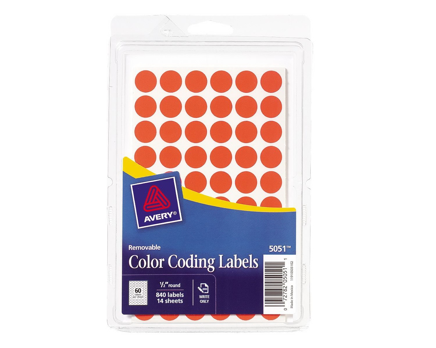 Avery removable color coding labels 05 inch neon red for 5 inch round labels