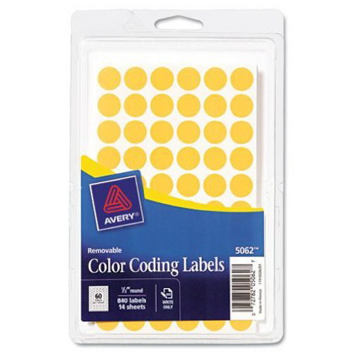 Avery Removable Color Coding Labels, 0.5 Inch, Round, Neon