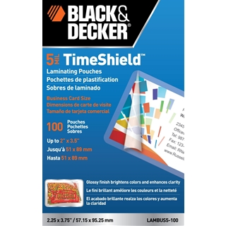 BLACK + DECKER TimeShield Thermal Laminating Pouches, Business Card, 5 mil - 100 Pack (LAMBUS5-100)